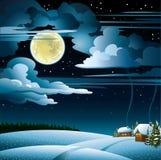 Φεγγάρι και σπίτι wintet Απεικόνιση αποθεμάτων