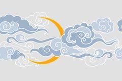 Φεγγάρι και σύννεφα σύνορα άνευ ραφής Απεικόνιση αποθεμάτων