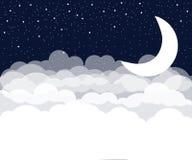 Φεγγάρι και υπόβαθρο αστεριών Διανυσματική απεικόνιση με τα πουλιά και τα λουλούδια Στοκ φωτογραφίες με δικαίωμα ελεύθερης χρήσης