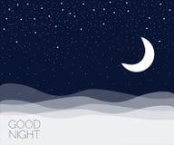 Φεγγάρι και υπόβαθρο αστεριών Διανυσματική απεικόνιση με τα πουλιά και τα λουλούδια Στοκ Εικόνες