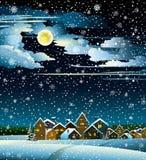 Φεγγάρι και χειμώνας σπιτιών Ελεύθερη απεικόνιση δικαιώματος