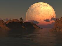 φεγγάρι λιμνών νησιών ελεύθερη απεικόνιση δικαιώματος