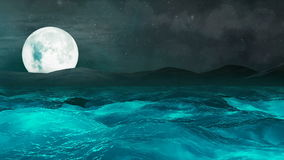 Φεγγάρι πέρα από τη θύελλα θάλασσας, αφηρημένο υπόβαθρο Loopable ελεύθερη απεικόνιση δικαιώματος