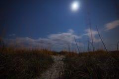 Φεγγάρι πέρα από τους αμμόλοφους Στοκ Εικόνες