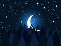 Φεγγάρι στα δέντρα έλατου επίπεδα Μεσάνυχτα, ένα ημισεληνοειδές φεγγάρι στον έναστρο ουρανό Κομψό δασικό διάνυσμα διανυσματική απεικόνιση