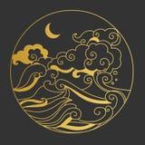 Φεγγάρι στον ουρανό πέρα από τη θάλασσα Διακοσμητικό γραφικό στοιχείο σχεδίου Απεικόνιση αποθεμάτων