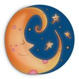 Φεγγάρι στον ουρανό, σχέδιο απεικόνισης καληνύχτας στοκ εικόνες