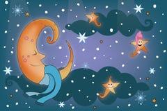 Φεγγάρι στον ουρανό, σχέδιο απεικόνισης καληνύχτας στοκ φωτογραφίες με δικαίωμα ελεύθερης χρήσης
