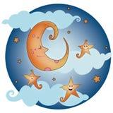 Φεγγάρι στον ουρανό, σχέδιο απεικόνισης καληνύχτας στοκ φωτογραφία