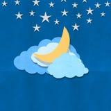Φεγγάρι σύννεφων και σχέδιο αστεριών ελεύθερη απεικόνιση δικαιώματος