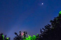 Φεγγάρι τοπίων νύχτας Στοκ Φωτογραφία