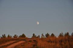 Φεγγάρι λυκόφατος οδικών τομέων Στοκ εικόνες με δικαίωμα ελεύθερης χρήσης