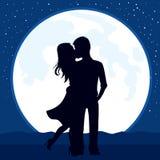 Φεγγάρι φιλήματος ζεύγους διανυσματική απεικόνιση