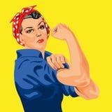 Φεμινιστικό σύμβολο με αυτήν την διάσημη γυναίκα στο κόκκινο μαντίλι με τα άσπρα σημεία, που κυλούν επάνω το μανίκι της για να συ διανυσματική απεικόνιση