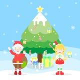 Φεστιβάλ διακοπών Χαρούμενα Χριστούγεννας με Άγιο Βασίλη, θηλυκό santa, χριστουγεννιάτικο δέντρο, snowflake, κιβώτιο δώρων παρόν  απεικόνιση αποθεμάτων