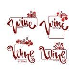 Φεστιβάλ κόκκινου κρασιού, νέο λογότυπο κρασιού, εμβλήματα, ετικέτες Στοκ Εικόνες