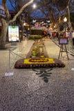 Φεστιβάλ λουλουδιών - οι διάσημοι floral τάπητες στο κέντρο της πόλης του Φουνκάλ κατά μήκος του κεντρικού περιπάτου Avenida Arri στοκ εικόνες