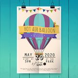 Φεστιβάλ μπαλονιών ζεστού αέρα Αφίσα φεστιβάλ ή πρότυπο ιπτάμενων fla Στοκ Εικόνα