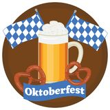 Φεστιβάλ μπύρας Oktoberfest Έγχρωμη εικονογράφηση Διανυσματική απεικόνιση της κούπας της μπύρας, π Στοκ εικόνα με δικαίωμα ελεύθερης χρήσης