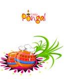 Φεστιβάλ νότιας ινδικό συγκομιδής, ευτυχείς εορτασμοί Pongal με το ρύζι στο παραδοσιακό δοχείο, το ζαχαροκάλαμο και το πιάτο λάσπ διανυσματική απεικόνιση