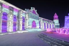 Φεστιβάλ 2018 πάγου του Χάρμπιν - φανταστικά κτήρια πάγου και χιονιού, διασκέδαση, νύχτα, ταξίδι Κίνα Στοκ Εικόνες