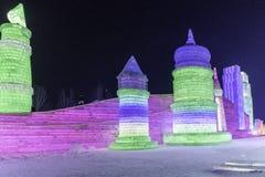 Φεστιβάλ 2018 πάγου του Χάρμπιν - φανταστικά κτήρια πάγου› ½ é™… å † °é› ªèŠ 'και χιονιού å «ˆå°» æ» ¨å, διασκέδαση, νύχτα, ταξίδ Στοκ Εικόνες