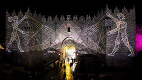 Φεστιβάλ της Ιερουσαλήμ του φωτός 2018 στην παλαιά πόλη στοκ εικόνες