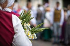 Φεστιβάλ τραγουδιού και χορού στη Λετονία Πομπή στη Ρήγα Στοιχεία των διακοσμήσεων και των λουλουδιών Λετονία 100 έτη Στοκ Φωτογραφία