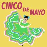 Φεστιβάλ Cinco de Mayo απεικόνισης χορός Μεξικάνικη αφίσα - διάνυσμα στοκ εικόνα