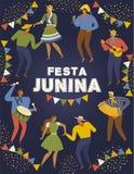 Φεστιβάλ Junina Βραζιλία Ιούνιος Festa Διανυσματικά πρότυπα Στοιχείο σχεδίου για την κάρτα, την αφίσα, το έμβλημα, και άλλη χρήση στοκ εικόνες
