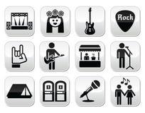 Φεστιβάλ μουσικής, ζωντανά διανυσματικά κουμπιά συναυλίας καθορισμένα Στοκ Εικόνες
