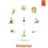 Φεστιβάλ μπύρας Oktoberfest Έγχρωμη εικονογράφηση Στοκ Φωτογραφίες