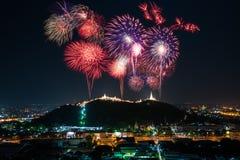 Φεστιβάλ πυροτεχνημάτων στο ιστορικό πάρκο Nakhon Khiri, Phetchaburi Στοκ Εικόνα