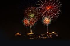 φεστιβάλ πυροτεχνημάτων του 2015, ιστορικό πάρκο Nakhon Khiri Phetchabur Στοκ φωτογραφία με δικαίωμα ελεύθερης χρήσης