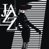 Φεστιβάλ της Jazz Αναδρομικός μια αφίσα με το μοντέρνο κορίτσι Στοκ Εικόνα