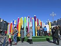 Φεστιβάλ των σχεδίων παιδιών στις οδούς της Μόσχας Στοκ φωτογραφία με δικαίωμα ελεύθερης χρήσης