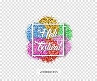 Φεστιβάλ Holi επίσης corel σύρετε το διάνυσμα απεικόνισης Ζωηρόχρωμος ακτινοβολεί - οδοντώστε, κόκκινο, χρυσός, μπλε, πράσινο με  Στοκ Εικόνες