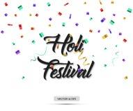 Φεστιβάλ Holi επίσης corel σύρετε το διάνυσμα απεικόνισης Κείμενο με το ζωηρόχρωμο κομφετί Στοκ φωτογραφίες με δικαίωμα ελεύθερης χρήσης