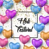 Φεστιβάλ Holi επίσης corel σύρετε το διάνυσμα απεικόνισης Σχέδιο ευχετήριων καρτών φεστιβάλ Holi με τα ζωηρόχρωμα μπαλόνια και το Στοκ Εικόνες