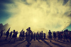 Φεστιβάλ Woodstock, μεγαλύτερο φεστιβάλ μουσικής ροκ θερινών υπαίθριο εισιτηρίων ελεύθερο στην Ευρώπη, Πολωνία Στοκ Φωτογραφίες
