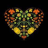 φθινοπώρου απομονωμένο απεικόνιση διάνυσμα καρδιών ανασκόπησης μαύρο επίσης corel σύρετε το διάνυσμα απεικόνισης στοκ εικόνα