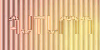 Φθινόπωρο λέξης Γεωμετρική ρηγέ αφίσα τέχνης γραμμών στα κίτρινα, πορτοκαλιά χρώματα Στοκ Φωτογραφίες
