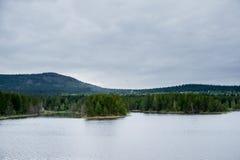 Φθινόπωρο, λίμνη και ένα δάσος πεύκων Στοκ φωτογραφία με δικαίωμα ελεύθερης χρήσης