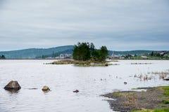 Φθινόπωρο, λίμνη και ένα δάσος πεύκων Στοκ εικόνα με δικαίωμα ελεύθερης χρήσης