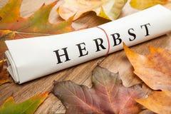 Φθινόπωρο που γράφεται στα γερμανικά Στοκ εικόνα με δικαίωμα ελεύθερης χρήσης