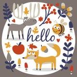 Φθινόπωρο που τίθεται χαριτωμένο με την αλεπού Στοκ Εικόνα