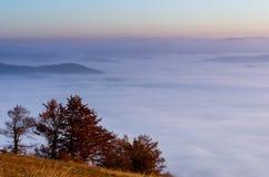 Φθινόπωρο στα βουνά σύννεφα πέρα από την ανατολή Τοπίο φθινοπώρου Μια άποψη επάνω από τα σύννεφα Στοκ Φωτογραφίες