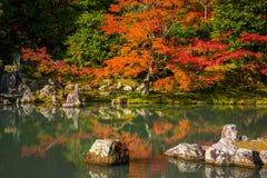 Φθινόπωρο στον κήπο zen σε Arashiyama, Ιαπωνία Στοκ Εικόνες