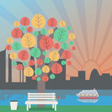 Φθινόπωρο στο πάρκο, ο ορίζοντας πόλεων Δέντρο και πάγκος φθινοπώρου στα απορρίμματα απεικόνιση αποθεμάτων