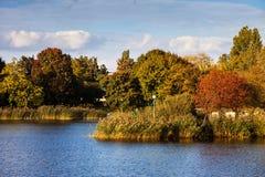 Φθινόπωρο στο πάρκο Szczesliwicki στη Βαρσοβία Στοκ Εικόνες